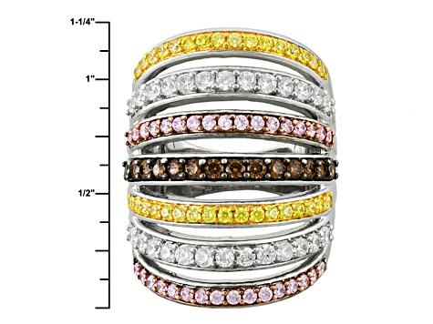 Yellow, Pink, White And Brown Cubic Zirconia 18k Yellow Gold Over Silver Ring 4.53ctw (2.19ctw DEW)