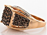 Brown And White Cubic Zirconia 18k Rose Gold Over Silver Ring 3.47ctw