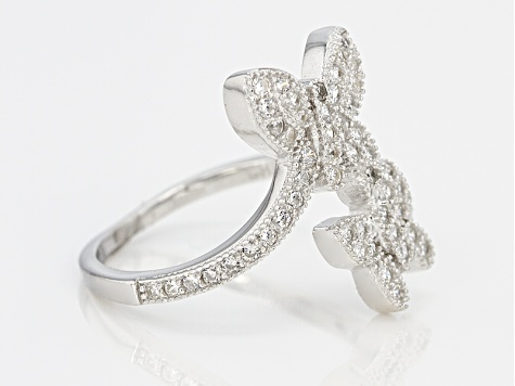 White Cubic Zirconia Rhodium Over Silver Butterfly Ring 0.57ctw