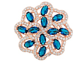 Blue And White Cubic Zirconia 18k Rose Gold Over Silver Ring 2.83ctw