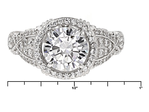 White Cubic Zirconia Rhodium Over Silver Ring 4.58ctw