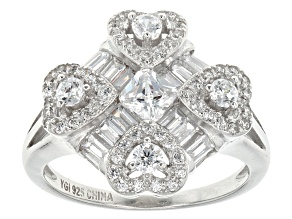 White Cubic Zirconia Rhodium Over Silver Ring 2.81ctw