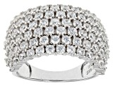 White Cubic Zirconia Rhodium Over Silver Ring 4.68ctw