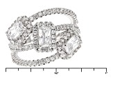 White Cubic Zirconia Rhodium Over Silver Ring 2.48ctw