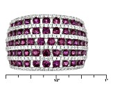 Red And White Cubic Zirconia Rhodium Over Silver Ring 3.61ctw