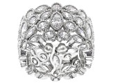White Cubic Zirconia Rhodium Over Sterling Silver Ring 9.90ctw