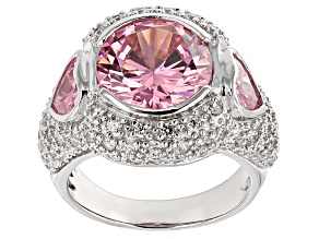 Pink And White Cubic Zirconia Silver Ring 11.35ctw (7.44ctw DEW)