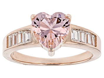 Picture of Pink And White Cubic Zirconia 18k Rose Gold Over Silver Heart Ring 3.59ctw