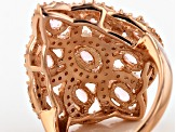 Pink And White Cubic Zirconia 18k Rose Gold Over Silver Ring 2.76ctw