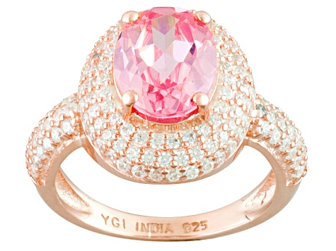 Pink And White Cubic Zirconia 18k Rose Gold Over Silver Ring 3.40ctw