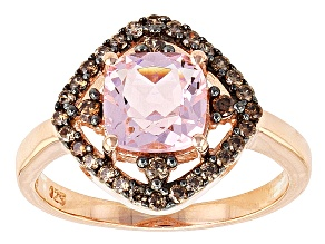 Pink And Mocha Cubic Zirconia 18k Rose Gold Over Silver Ring 2.52ctw