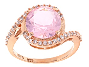 Pink And White Cubic Zirconia 18k Rose Gold Over Silver Ring 3.47ctw