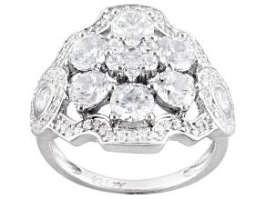 Cubic Zirconia Silver Ring 4.43ctw (2.53ctw DEW)