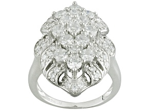 Cubic Zirconia Silver Ring 3.58ctw (2.12ctw DEW)
