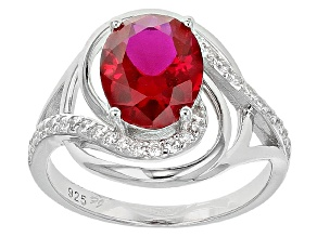 Red And White Cubic Zirconia Silver Ring 1.36ctw