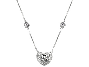 White Cubic Zirconia Rhodium Over Sterling Silver Heart Necklace 2.61ctw