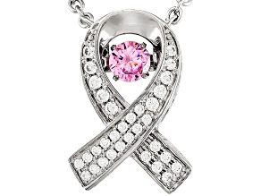 Pink And White Cubic Zirconia Rhodium Over Sterling Silver Ribbon Necklace .80ctw