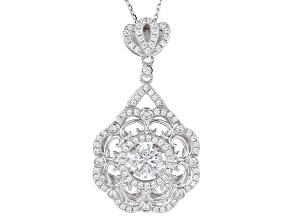 White Cubic Zirconia Rhodium Over Sterling Silver Pendant With Chain 2.87ctw