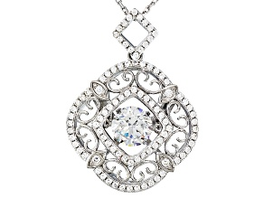 White Cubic Zirconia Rhodium Over Sterling Silver Pendant With Chain 2.69ctw