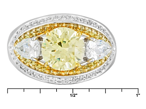 Yellow And White Cubic Zirconia Rhodium Over Silver And 18k Yg Over Silver Ring 5.35ctw