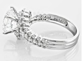 White Cubic Zirconia Rhodium Over Silver Ring 5.30ctw