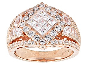 Cubic Zirconia 18k Rose Gold Over Silver Ring 3.28ctw (2.08ctw DEW)