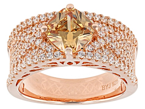 Brown And White Cubic Zirconia 18k Rose Gold Over Silver Ring 3.92ctw (2.06ctw DEW)