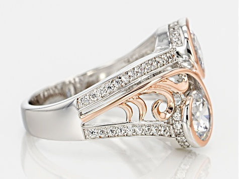 White Cubic Zirconia 18k Rose Gold Over Silver And Rhodium Over Silver Ring 3.54ctw