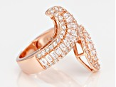 White Cubic Zirconia 18k Rose Gold Over Silver Ring 2.61ctw