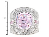 Pink And White Cubic Zirconia Silver Ring 15.98ctw (8.53ctw DEW)