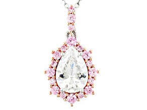 Pink/ White Cubic Zirconia Rhodium Over Silver/18k Rose Over Silver Pendant W/ Chain 3.83ctw