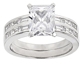 White Cubic Zirconia Rhodium Over Silver Ring With Band 5.55ctw