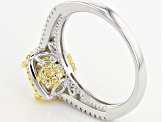 Yellow And White Cubic Zirconia Rhodium Over Silver And 18k Yg Over Silver Ring 4.00ctw