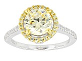 Yellow And White Cubic Zirconia Rhodium Over Silver & 18k Yg Over Silver Ring 3.99ctw