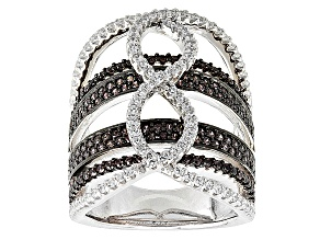 Brown And White Cubic Zirconia Rhodium Over Silver Ring 2.81ctw
