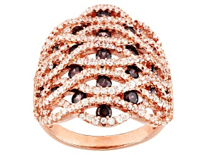White And Mocha Cubic Zircoonia 18k Rose Gold Over Silver Ring 3.29ctw