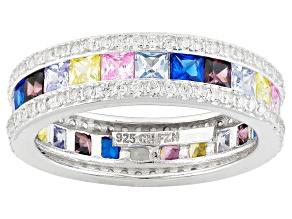 Multi Color Cubic Zirconia Rhodium Over Silver Ring 4.84ctw