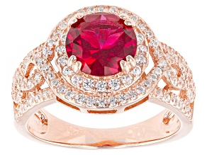 Red And White Cubic Zirconia 18kt Rose Gold Over Silver Ring 3.16ctw