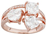 White Cubic Zirconia 18k Rose Gold Over Silver Ring 4.34ctw