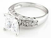 White Cubic Zirconia Rhodium Over Silver Ring 4.00ctw