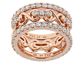 White Cubic Zirconia 18k Rose Gold Over Sterling Silver Rings 4.75ctw