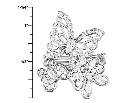 White Cubic Zirconia Rhodium Over Silver Butterfly Ring 2.10ctw