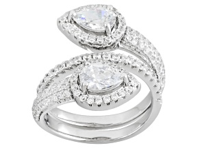 Cubic Zirconia Silver Ring 4.08ctw (3.00ctw DEW)