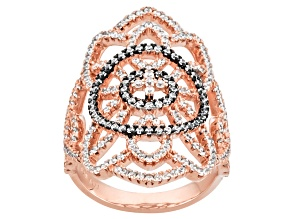 Cubic Zirconia 18k Rose Gold Over Silver Ring 2.50 (1.25ctw DEW)