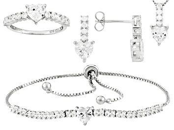 Picture of White Cubic Zirconia Rhodium Over Silver Heart Jewelry Set 10.27ctw