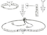 White Cubic Zirconia Rhodium Over Silver Heart Jewelry Set 10.27ctw