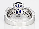 Lab Created Sapphire And White Cubic Zirconia Silver Ring 3.12ctw
