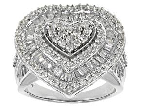 Cubic Zirconia Silver Heart Ring 3.80ctw (2.31ctw DEW)