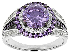 Purple And White Cubic Zirconia Silver Ring 5.14ctw