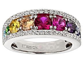 Multi-Color Cubic Zirconia Silver Ring 3.53ctw (1.68ctw DEW)